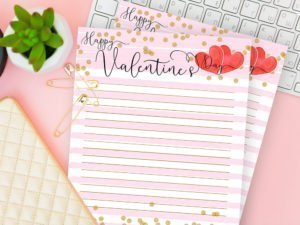 Happy Valentine's Day Lined Writing Paper