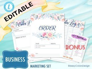 sales order book set includes 1 monthly cover, 1 order form template, 1 order log, and a 2020 holiday calendar for free