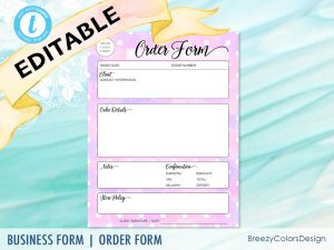 Craft Order Form in Purple Watercolor