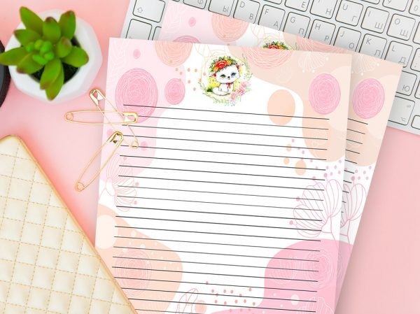 Cat With Flowers Writing Paper Pink/Peach - Lined