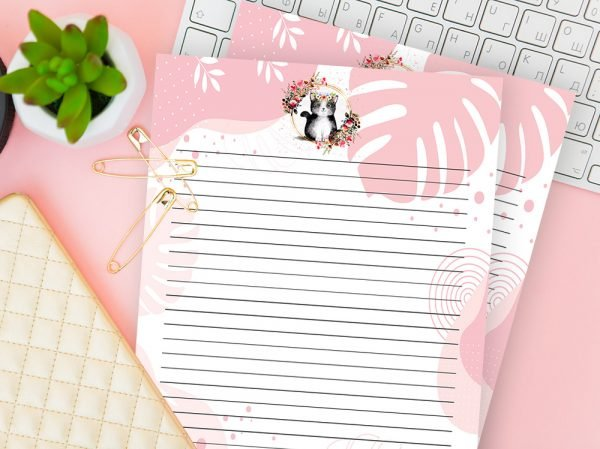 Cat With Flowers Writing Paper - Baby Pink