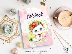 Cat With Floral Wreath Notebook